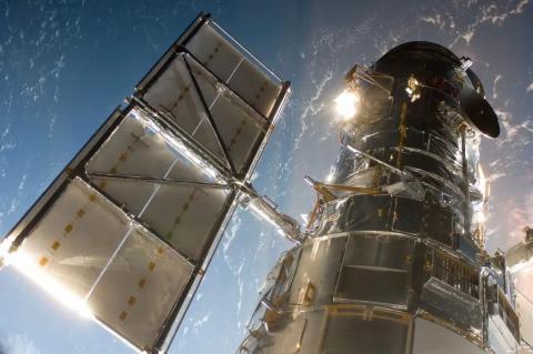 El telescopio Hubble de la NASA en órbita.