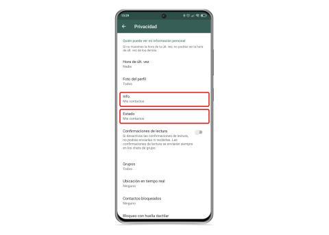 Información y estado WhatsApp
