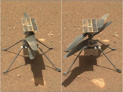 El rover Perseverance ha capturado el helicóptero Ingenuity antes, a la izquierda, y después de hacer girar las palas del rotor.