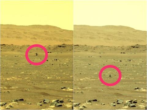 El rover Perseverance ha capturado el primer vuelo de Ingenuity en Marte, el 19 de abril de 2021.