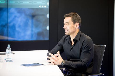 Manuel del Campo durante la entrevista a Hilario Albarracín