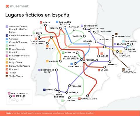 Mapas de España lugares ficticios