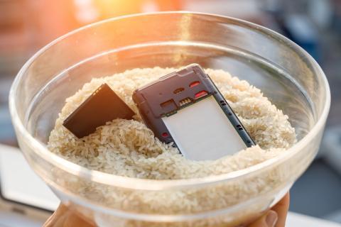 movil sumergido en arroz