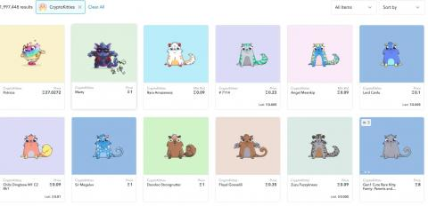 OpenSea sells a wide variety of NFTs, including CryptoKitties.