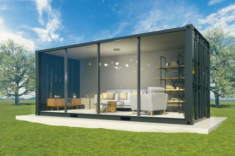 Una pequeña y coqueta casa prefabricada de acero.