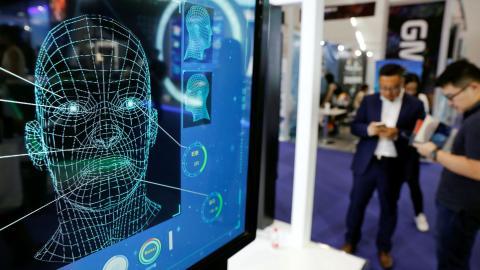 Un dispositivo de reconocimiento facial en un congreso de telefonía móvil en China.