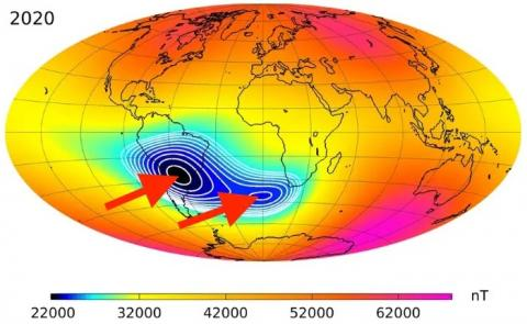 Así es la fuerza de los campos magnéticos de la Tierra, según los satélites de la ESA; en azul, el punto más débil de estos.