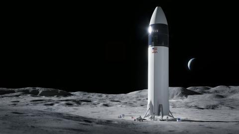 Ilustración del diseño del módulo de Starship que llevará a los astronautas de la NASA a la superficie lunar durante la misión Artemis.SpaceX