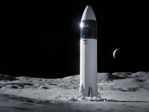 Ilustración de la plataforma lunar de aterrizaje de Starship, que llevará a los próximos astronautas de la NASA a la Luna, en el marco de la misión Artemisa.