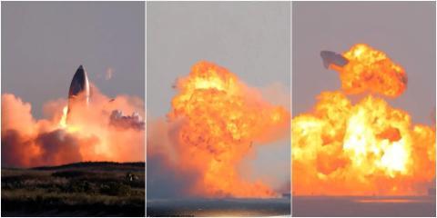 De izquierda a derecha: las explosiones de SN8, SN9 y SN10.