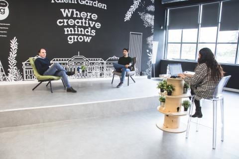 Los responsables de Code.org y Talent Garden, en un momento de la charla con Business Insider.