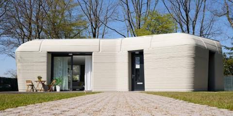 A 3D printed concrete home with Project Milestone.
