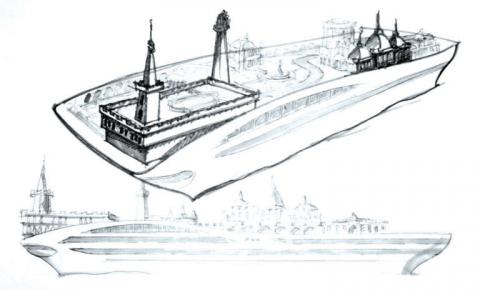 Los bocetos replican a los edificios más famosos de Mónaco.
