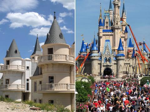 El pueblo abandonado a la izquierda, Disney World a la derecha.