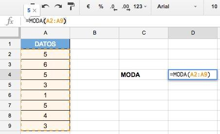Calcular la Moda en Excel