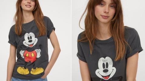 Camiseta HM Mujer Algodón Mickey Mouse, 9.99 euros.