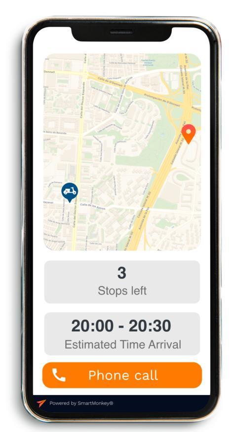 Captura de la aplicación de SmartMonkey para clientes