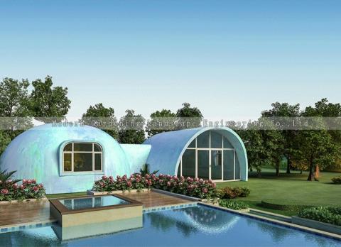 Casa tipo cúpula de cielo estrellado.