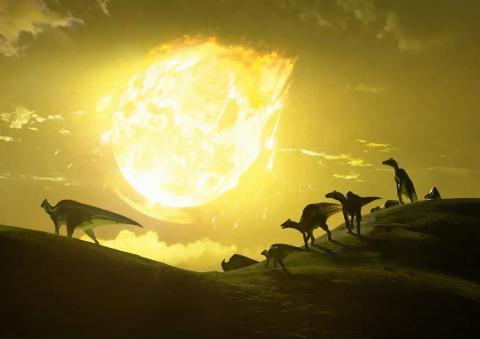 Representación artística del momento en que el asteroide Chicxulub chocó con el territorio que hoy es México hace 66 millones de años.