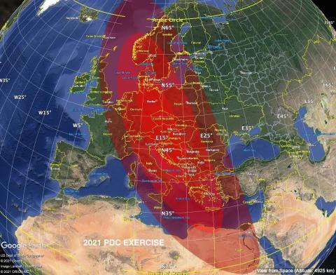 La región de impacto prevista para 2021 PDC en el segundo día de una simulación de impacto de asteroide dirigida por la NASA.