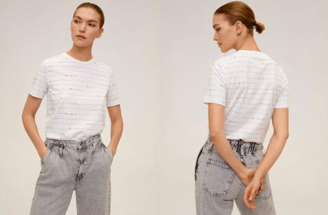 Camiseta algodón orgánico estampada por 4,99 euros.