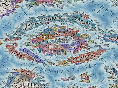 """El centro del mapa representa el """"núcleo y la columna vertebral de internet tal y como lo conocemos"""""""
