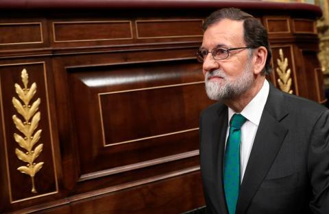 Mariano Rajoy durante la primera sesión de la moción de censura