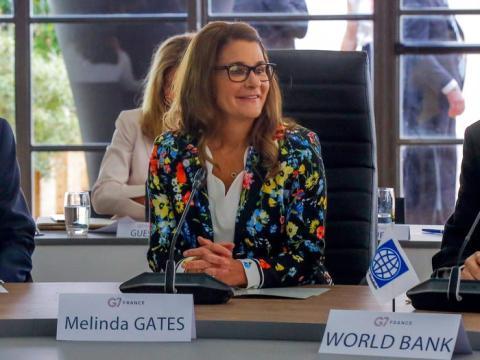 Melinda Gates asiste a una reunión en el G-7 Finance en Chantilly, al norte de París, el jueves 18 de julio de 2019.