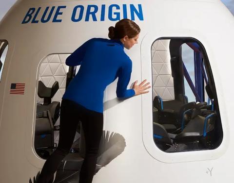 Un adelanto del diseño final de la cápsula New Shepard para turistas espaciales suborbitales.