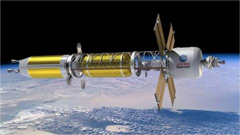 Ilustración de una nave espacial de la NASA que usaría propulsión térmica nuclear.