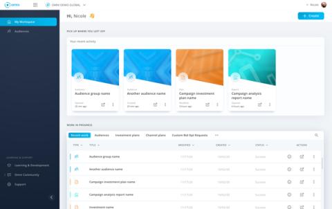 Interfaz de Omni, desarrollada por Annalect, la unidad propia de OMG para datos, tecnología, análisis y 'marketing intelligence'.