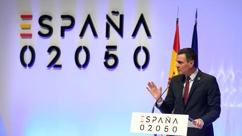 El presidente del Gobierno, Pedro Sánchez, durante la presentación del plan España 2050