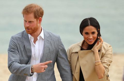 El príncipe Harry con un anillo de Oura con su mujer Meghan, duquesa de Sussex, en 2018