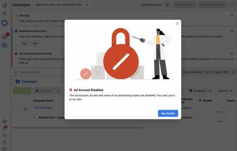 La campaña promocional de Signal en Facebook acabó bloqueada.