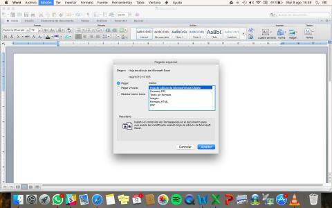Truco para pegar tabla de Excel en Word