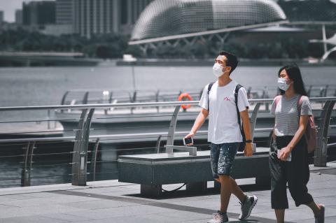 Turistas en Singapur.