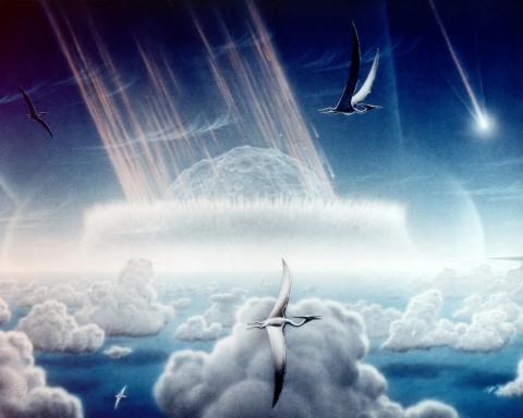 Pintura que muestra un asteroide chocando contra mares poco profundos de la Península De Yucatán, al sureste de México. Las secuelas de la colisión de asteroides hace 65 millones de años habrían causado la extinción de dinosaurios y otras especies.