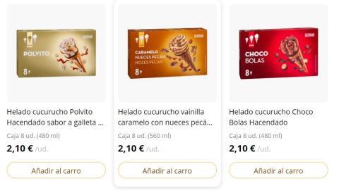 Captura supermercado online de Mercadona con sus helados cucurucho.