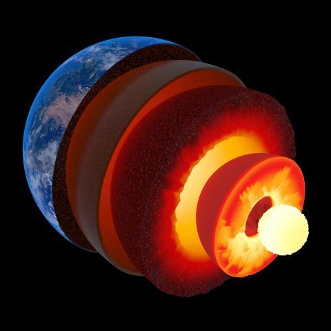 Ilustración de un artista de las diferentes capas de nuestro planeta, incluida la corteza, el manto y los núcleos internos y externos.