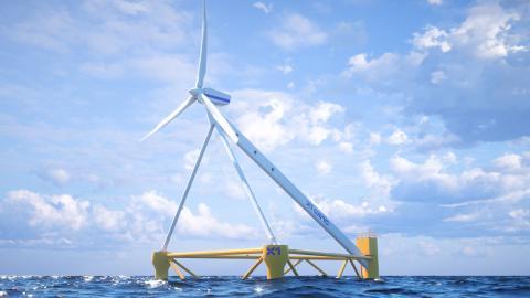 Imagen del molino eólico instalado por X1 Wind en Canarias