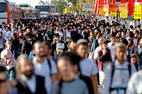 A crowded street in the Israeli town of Meron on April 30, 2021.