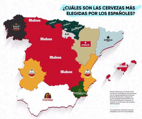 Mapa de España con las cervezas más consumidas en cada comunidad autónoma.
