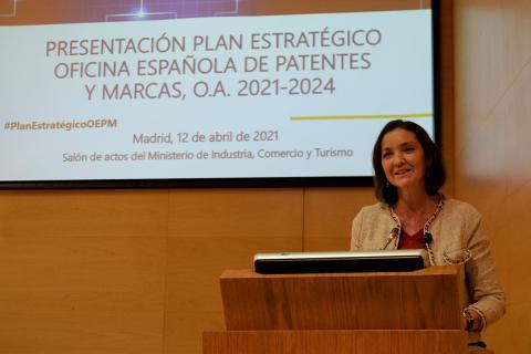 La ministra Reyes Maroto presentando el Plan Estratégico de la OEPM hasta 2024.