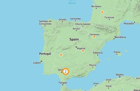 Plantas de energía solar de Amazon en España, según la web de la compañía