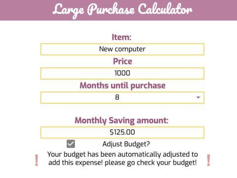 La hoja de cálculo incluye una pestaña separada para factorizar los artículos caros.