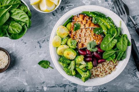 Ejemplo de un plato bien estructurado con todos los nutrientes necesarios.