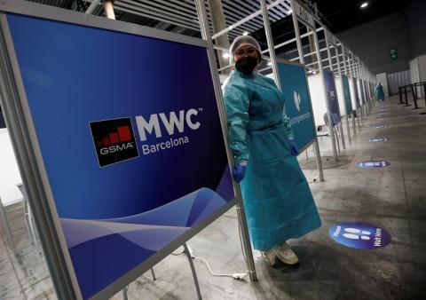 Pruebas de antígenos a la entrada del Mobile World Congress de Barcelona