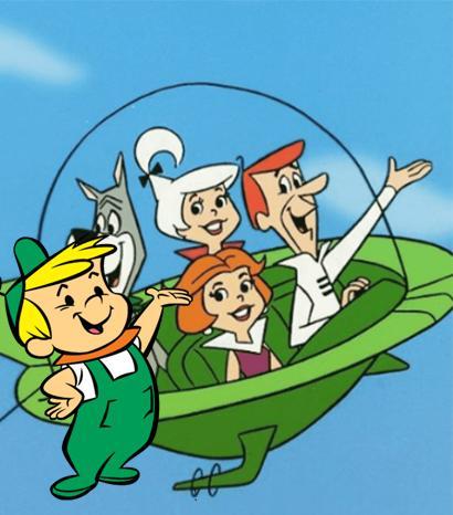 Elroy a la izquierda de la imagen, personaje de la serie de dibujos animados Los Supersónicos.