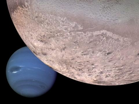 A computer generated montage shows Neptune as it would appear from a spacecraft approaching Triton, Neptune's largest moon.
