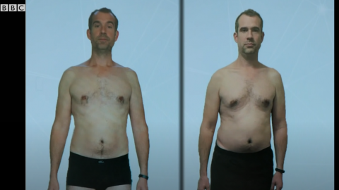 Imágenes del antes y el después de la dieta de Tulleken. Claramente el estómago y el pecho habían aumentado su volumen.